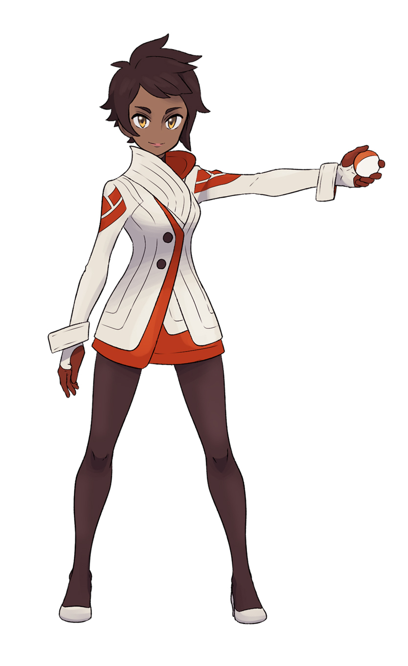 1girl brown_hair candela_(pokemon) coat dark_skin full_body gloves highres holding holding_poke_ball lipstick makeup official_style outstretched_arm pantyhose parody poke_ball pokemon pokemon_go red_gloves redlhzz short_hair simple_background smile solo style_parody white_background wide_stance yellow_eyes