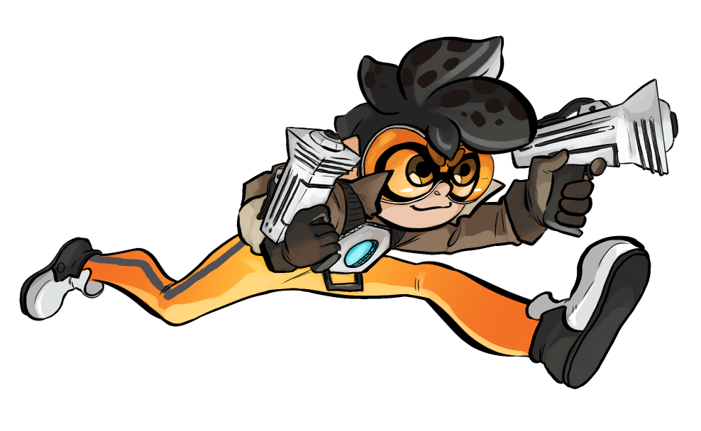 1girl black_hair bodysuit bomber_jacket brown_gloves brown_jacket cardboard commentary cosplay costume domino_mask dual_wielding funkgamut gloves goggles gun holding holding_weapon inkling jacket leather leather_jacket mask orange_bodysuit overwatch pants pointy_ears running shoes short_hair simple_background solo spiky_hair splatoon tentacle_hair tight tight_pants tracer_(overwatch) tracer_(overwatch)_(cosplay) weapon white_background white_shoes
