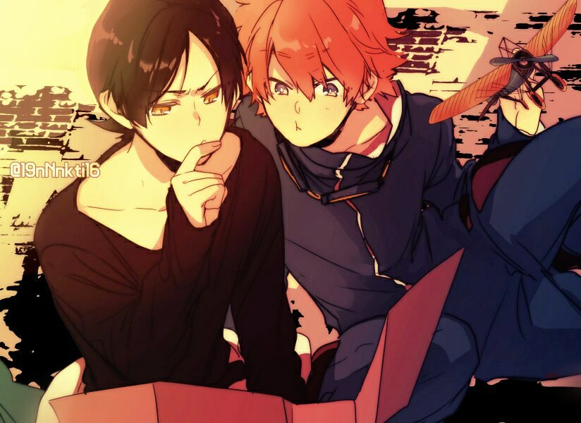 2boys :t black_hair blue_eyes brown_eyes center_part collarbone datsugoku_(vocaloid) eyebrows_visible_through_hair finger_to_mouth goggles goggles_around_neck ikuhiro_(19nnnkti16) kawasemi_(datsugoku) kuina_(datsugoku) long_sleeves looking_down multiple_boys reading redhead toy_airplane twitter_username