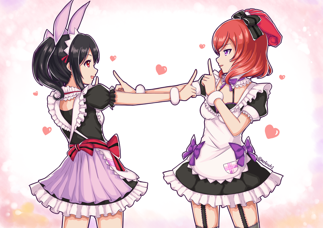 "2girls :d artist_name back bangs black_bow black_bra black_dress black_legwear bow bra bra_strap breasts cowboy_shot detached_collar dress eye_contact frilled_dress frills garter_straps hair_bow half_updo halterneck index_finger_raised kelinch1 koi_dance lace_trim looking_at_another love_live! love_live!_school_idol_project maid_headdress mogyutto_""love""_de_sekkin_chuu! multiple_girls neck_ribbon nishikino_maki open_mouth outstretched_arm pleated_dress pocket profile puffy_short_sleeves puffy_sleeves purple_bow redhead ribbon shiny shiny_hair short_sleeves sidelocks small_breasts smile thigh-highs twitter_username underwear valentine violet_eyes white_apron wrist_cuffs"
