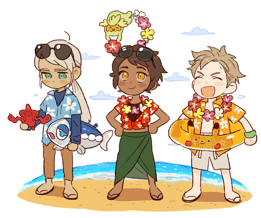 1boy 2girls androgynous beach blanche_(pokemon) blonde_hair blue_eyes blush_stickers brown_hair candela_(pokemon) cdov34 chibi closed_eyes clouds comfey dark_skin hawaiian_shirt innertube lei looking_up multiple_girls pokedex pokemon pokemon_(creature) pokemon_(game) pokemon_go pokemon_sm ponytail rotom sandals shirt short_hair silver_hair simple_background smile spark_(pokemon) sunglasses sunglasses_on_head tied_shirt white_background wishiwashi yellow_eyes