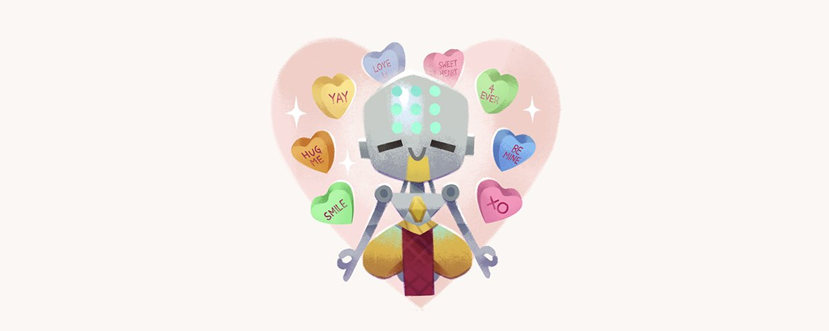 candy chibi english floating food full_body heart heart-shaped_food humanoid_robot indian_style monk omnic overwatch pants robot rope simple_background sitting smile solid_circle_eyes solo sparkle star text tinysnails valentine white_background zenyatta_(overwatch)
