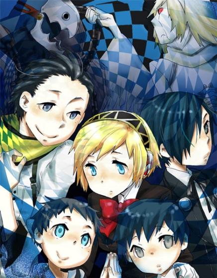 android arisato_minato blonde_hair blue_eyes blue_hair child headphones mochizuki_ryouji persona persona_3 pharos scarf school_uniform suminohirune thanatos