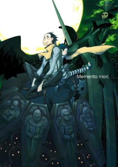 black_hair mochizuki_ryouji moon multiple_boys nyx_avatar persona persona_3 pharos scarf smile suminohirune thanatos time_paradox