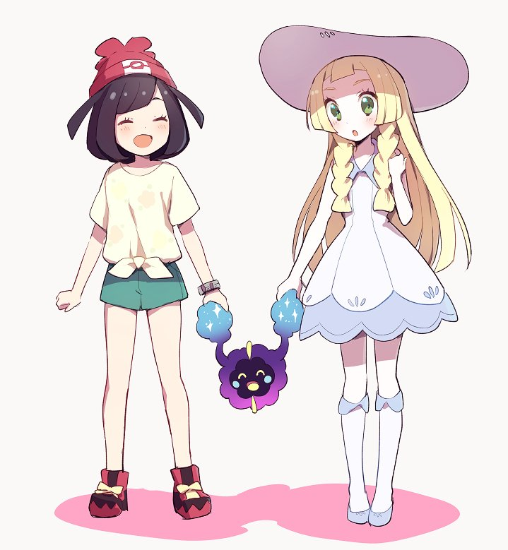 2girls beanie black_hair blonde_hair braid closed_eyes cosmog dress female_protagonist_(pokemon_sm) green_eyes green_shorts hat kurochiroko lillie_(pokemon) long_hair multiple_girls open_mouth pokemon pokemon_(creature) pokemon_(game) pokemon_sm red_hat shirt short_hair short_sleeves shorts simple_background sleeveless sleeveless_dress sun_hat tied_shirt twin_braids white_background white_dress white_hat z-ring