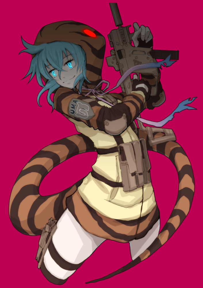 1girl ahoge aqua_hair bare_legs blue_eyes boushi-ya emblem glowing glowing_eyes gun hood hoodie kemono_friends long_sleeves operator ribbon sidelocks solo striped_hoodie striped_tail submachine_gun tail tsuchinoko_(kemono_friends) weapon