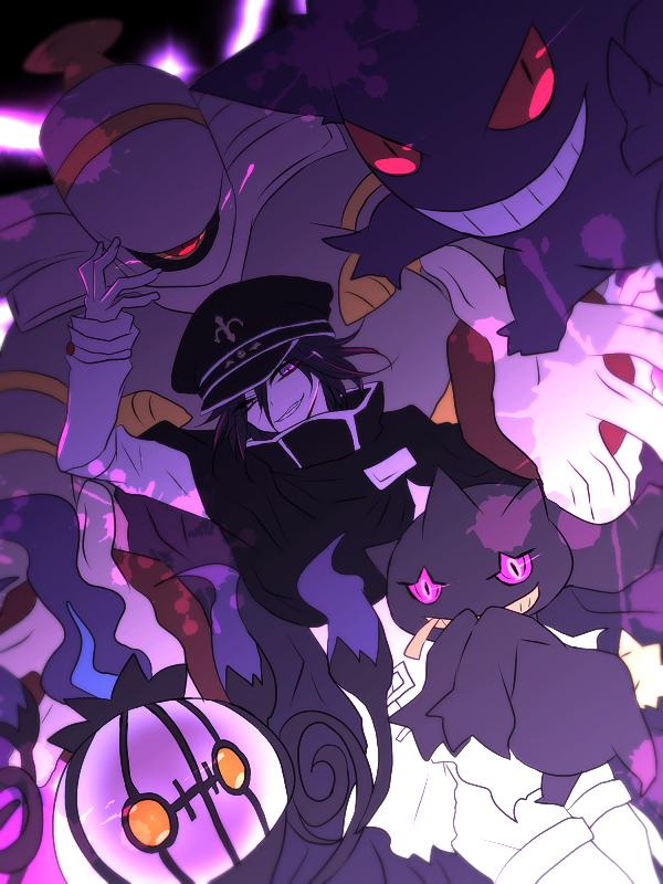 1boy banette cape chandelure danganronpa dusknoir evil_grin evil_smile fleur_de_lis garrison_cap gengar grin hat long_sleeves looking_at_viewer negi_(ngng_9) new_danganronpa_v3 ouma_kokichi pokemon purple_hair smile straitjacket tagme violet_eyes