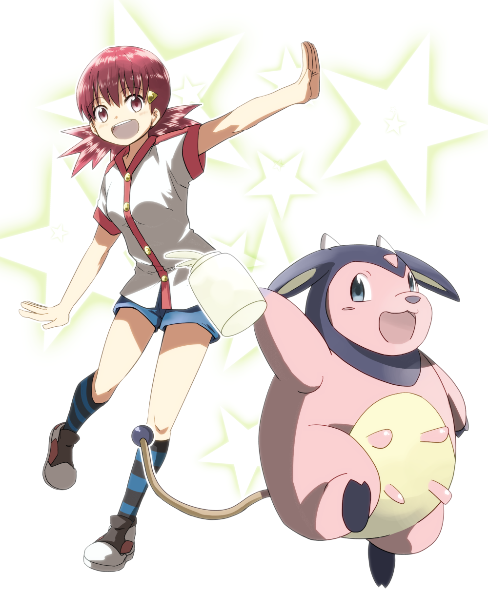 1girl :3 :d akane_(pokemon) bangs bare_arms blue_eyes blue_shorts blush blush_stickers bottle breasts buttons cow eyebrows_visible_through_hair full_body gym_leader hair_ornament highres holding horns kneehighs leg_up looking_at_viewer medium_breasts milk milk_bottle miltank naga_(naga54321) open_mouth outline outstretched_arms pink_eyes pink_hair pokemon pokemon_(creature) pokemon_(game) pokemon_hgss shirt shoes short_hair short_sleeves short_twintails shorts simple_background smile standing standing_on_one_leg star starry_background striped striped_legwear tareme teeth tongue twintails udder white_background white_shirt