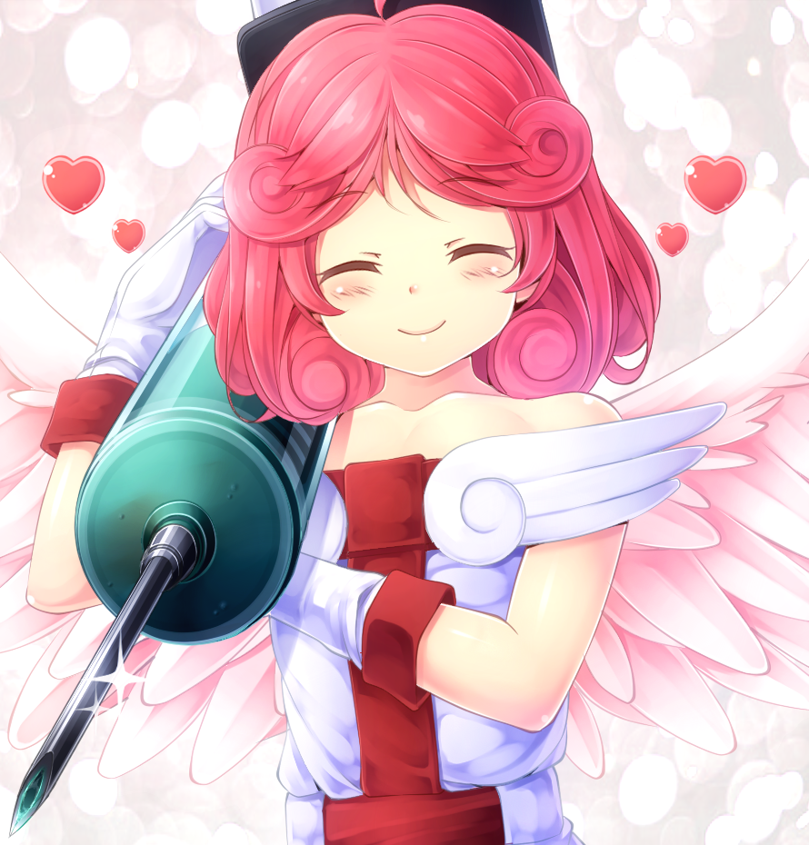 1girl angel_wings bare_shoulders blush closed_eyes duel_monster gloves heart injection_fairy_lily komimiyako large_syringe nurse oversized_object pink_hair redhead smile solo syringe wings yu-gi-oh!
