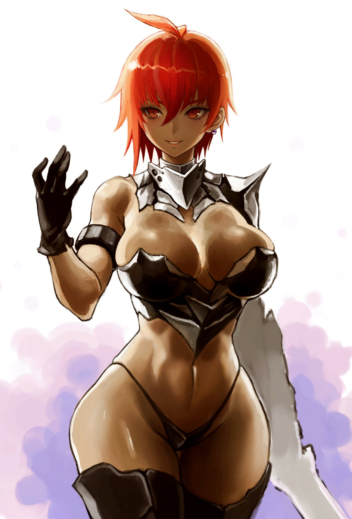 1girl armlet armor bangs bikini_armor black_gloves boots breasts cowboy_shot earrings gauntlets gloves highleg highres hiro1984 jewelry large_breasts looking_at_viewer navel original redhead short_hair smile solo standing tan thigh-highs thigh_boots wide_hips