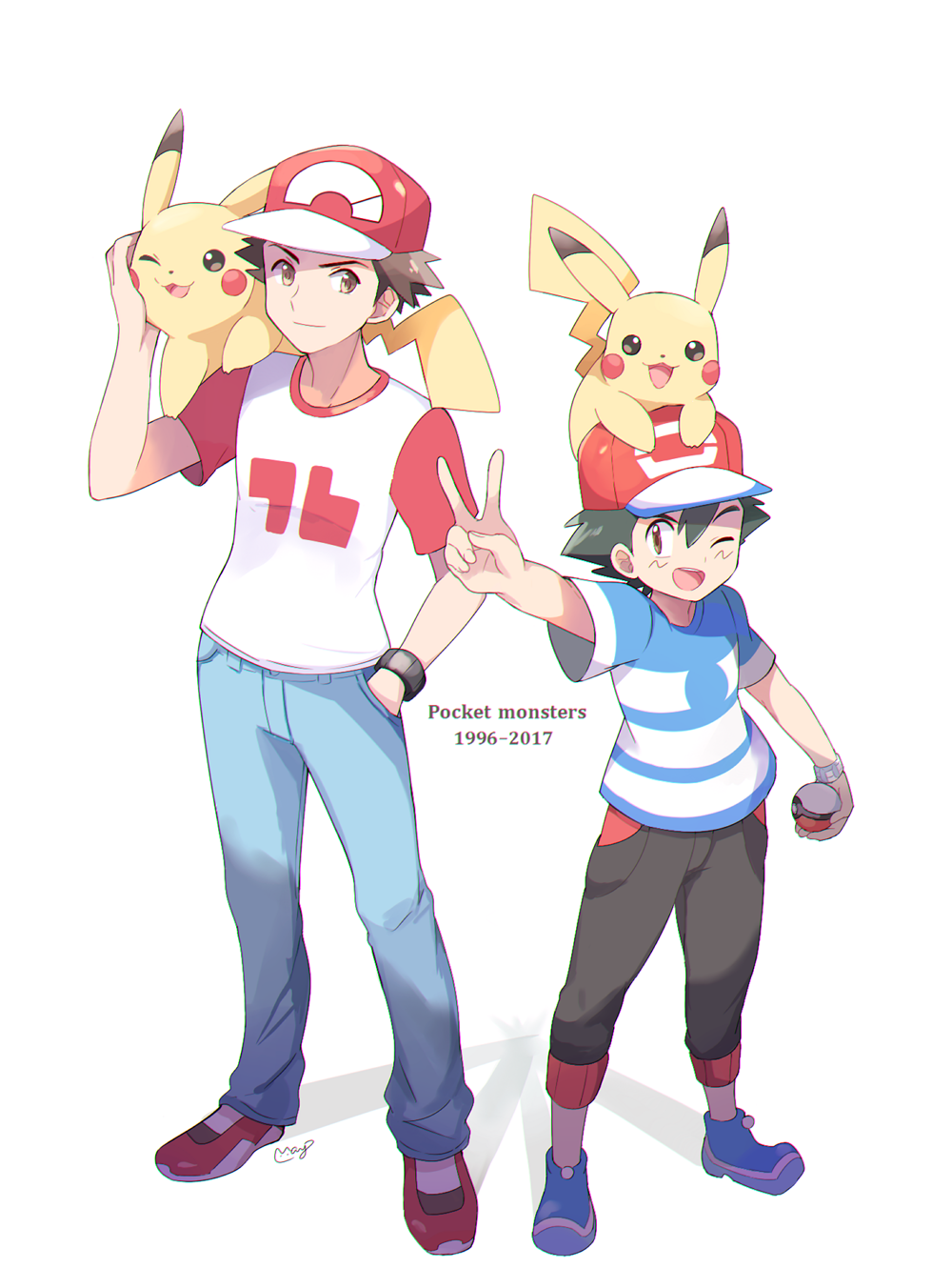 2boys age_difference animal animal_on_head animal_on_shoulder anniversary baseball_cap black_hair brown_eyes brown_hair capri_pants denim hand_in_pocket hat highres holding holding_poke_ball jeans male_focus mei_(maysroom) multiple_boys on_head one_eye_closed pants pikachu poke_ball pokemon pokemon_(anime) pokemon_(creature) pokemon_(game) pokemon_sm pokemon_sm_(anime) raglan_sleeves red_(pokemon) red_(pokemon)_(sm) satoshi_(pokemon) shadow shirt shoes short_hair signature simple_background smile sneakers striped striped_shirt t-shirt v white_background z-ring