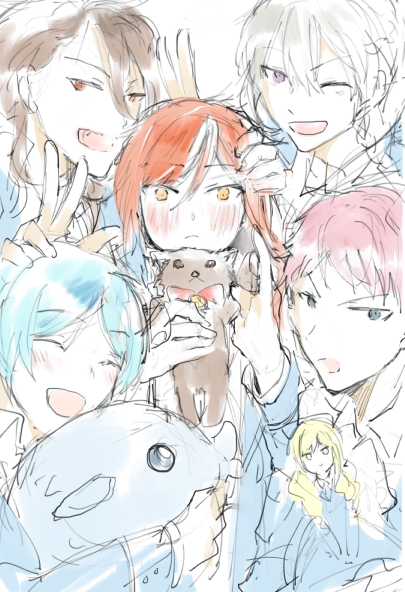 5boys ahoge aqua_hair black_hair blazer blue_hair blush braid doll ensemble_stars! fangs five_oddballs_(ensemble_stars!) hibiki_wataru itsuki_shu jacket long_hair mademoiselle_(ensemble_stars!) male_focus multiple_boys pink_hair red_eyes redhead sakasaki_natsume sakuma_rei_(ensemble_stars!) school_uniform shinkai_kanata smile yellow_eyes