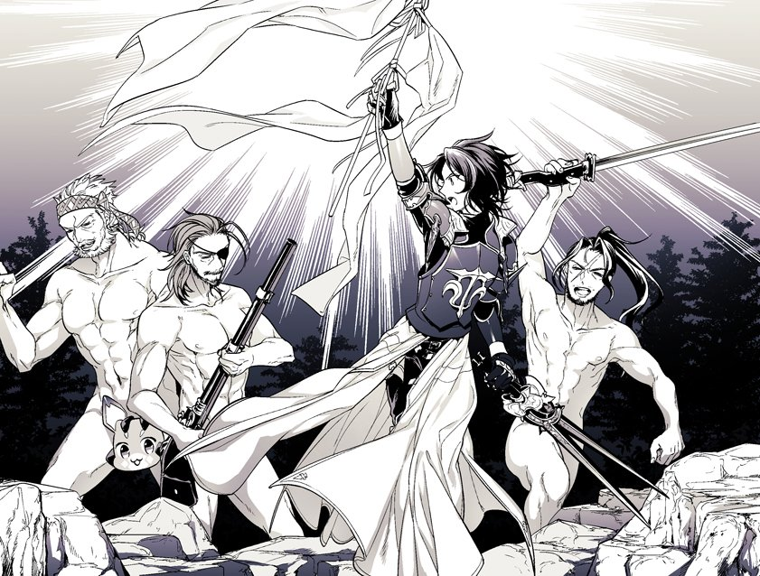 4boys abs armor beard censored character_censor clenched_hand closed_eyes convenient_censoring eugene_(granblue_fantasy) eyepatch facial_hair fine_art_parody granblue_fantasy gun headband jin_(granblue_fantasy) lancelot_(granblue_fantasy) liberty_leading_the_people long_hair looking_at_another male_focus monochrome multiple_boys muscle mustache novelty_censor nude old_man parody pectorals rifle rock scar soriz sword vee_(granblue_fantasy) weapon