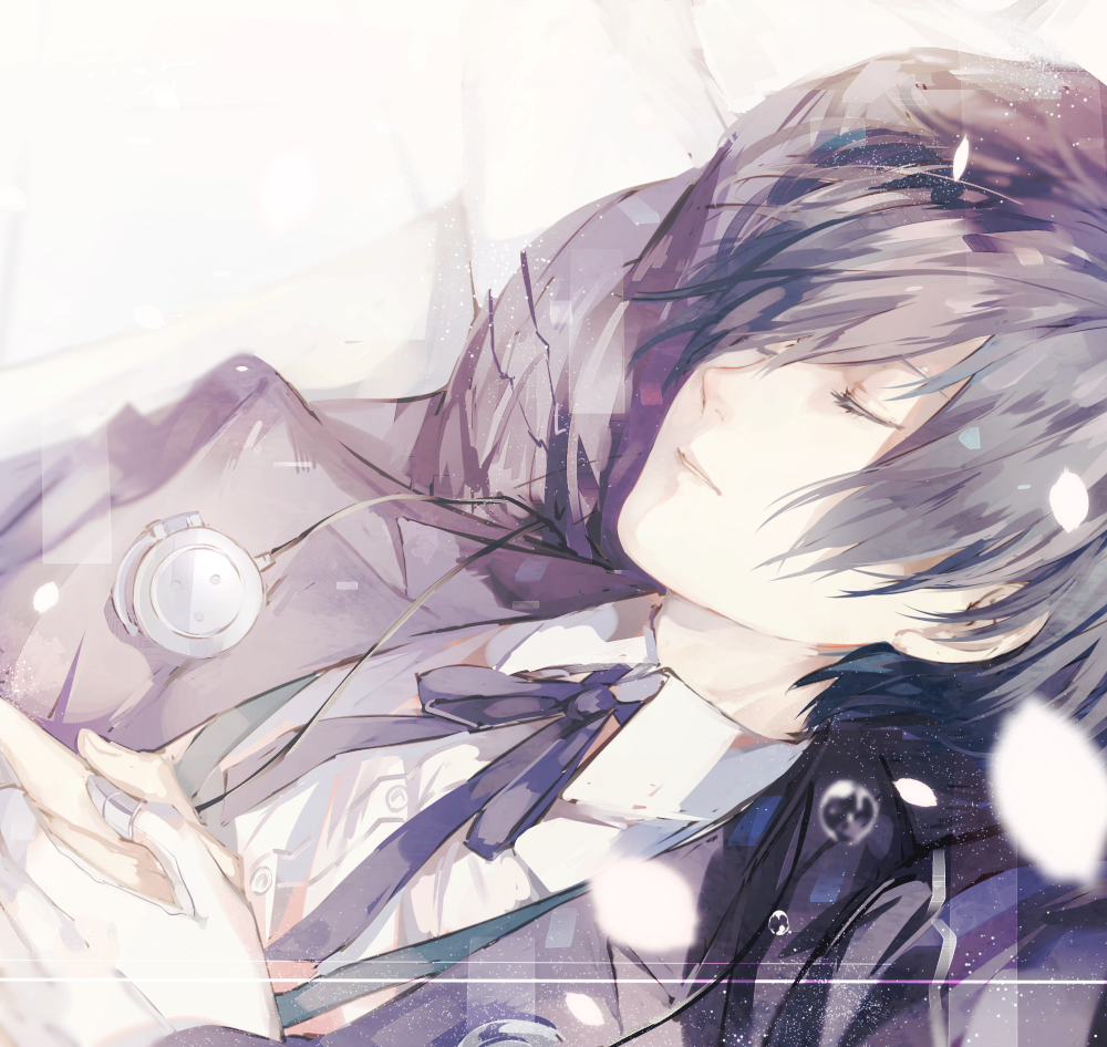 aegis aegis_(persona) arisato_minato blazer blue_ribbon digital_media_player hair_over_one_eye hands_on_own_chest hands_together headphones jacket neck_ribbon own_hands_together persona persona_3 petals ribbon shirt sleeping syokuuuuuuuuumura teardrop white_shirt yuuki_makoto