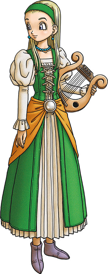 blonde_hair boots commentary dragon_quest dragon_quest_xi earrings hairband harp instrument jewelry necklace official_art senya_(dragon_quest_xi) toriyama_akira