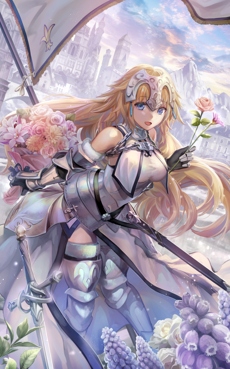 armor blonde_hair blush fate/grand_order jeanne_of_arc long_hair sword warrior yellow_eyes