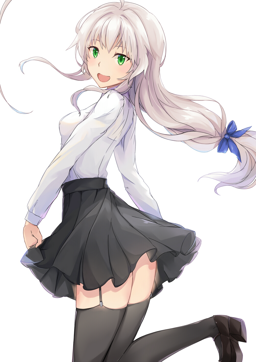 1girl :d ahoge black_legwear black_skirt blue_bow blush bow breasts brown_shoes garter_straps green_eyes grey_hair hair_bow haiyore!_nyaruko-san head_tilt highres huge_ahoge loafers long_hair long_sleeves low-tied_long_hair medium_breasts nyarlathotep_(nyaruko-san) open_mouth pleated_skirt powhway shirt shoes simple_background skirt skirt_hold smile solo thigh-highs very_long_hair white_background white_shirt