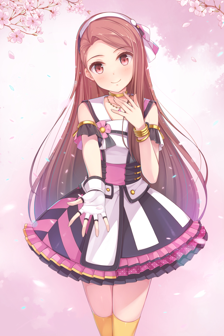 blush brown_eyes brown_hair dress hairband idolmaster long_hair minase_iori