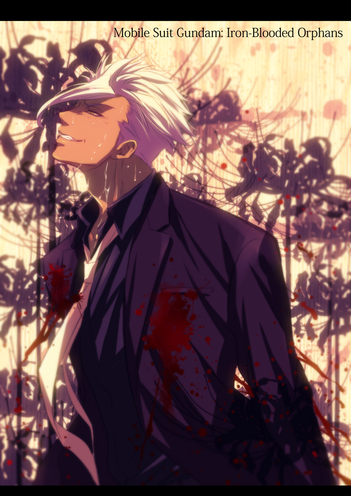 1boy bleeding blood blood_splatter copyright_name dark_skin dying english formal gundam gundam_tekketsu_no_orphans injury ishida_kaname jacket necktie orga_itsuka sad_smile short_hair spoilers sweat white_hair yellow_eyes