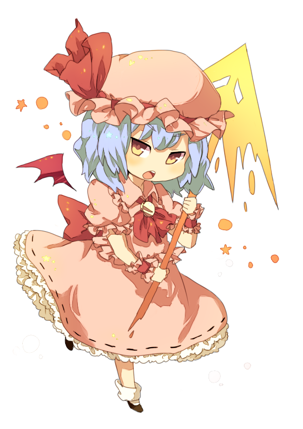 >:o 1girl :o ascot bat_wings black_shoes blue_hair blush chibi collared_dress detached_wings dress eyebrows_visible_through_hair frilled_dress frilled_shirt_collar frilled_sleeves frills full_body hair_between_eyes hat hat_ribbon holding_spear kingyo_(nikkorogashi) mob_cap open_mouth pink_dress pink_hat polearm puffy_short_sleeves puffy_sleeves red_ascot red_eyes red_ribbon remilia_scarlet ribbon ribbon-trimmed_dress shoes short_sleeves simple_background socks solo spear spear_the_gungnir teeth touhou vampire weapon white_background white_legwear wings wrist_cuffs