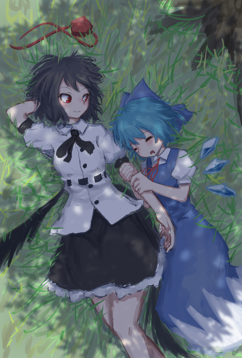 2girls black_hair black_ribbon black_skirt black_wings blue_dress blue_hair blue_ribbon blush cirno collared_shirt commentary_request dress drooling grass hair_ribbon hat hat_removed headwear_removed highres holding_arm ice ice_wings juliet_sleeves long_sleeves low_wings lying lying_on_person messy_hair multiple_girls neck_ribbon on_back puffy_sleeves red_eyes red_hat red_ribbon ribbon roke_(taikodon) shameimaru_aya shirt short_hair short_sleeves skirt sleeping sleeping_on_person sleeveless sleeveless_dress smile tokin_hat touhou tree tree_shade white_dress white_shirt wings