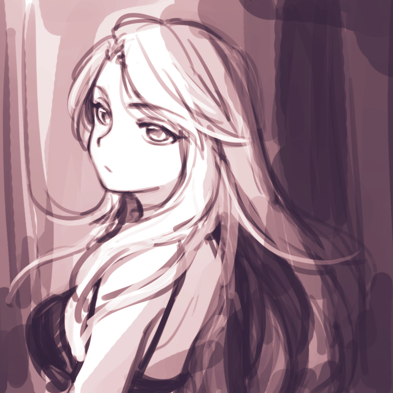 1girl black_bra bra catalina_(granblue_fantasy) eyebrows_visible_through_hair from_side granblue_fantasy long_hair meo sketch solo underwear upper_body