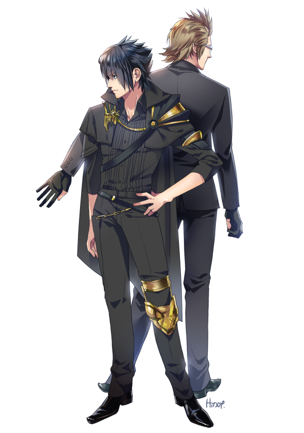 2boys back-to-back black_clothes black_hair brown_hair cape final_fantasy final_fantasy_xv formal gloves hinoe_(dd_works) ignis_scientia knee_brace male_focus multiple_boys noctis_lucis_caelum pauldrons signature suit