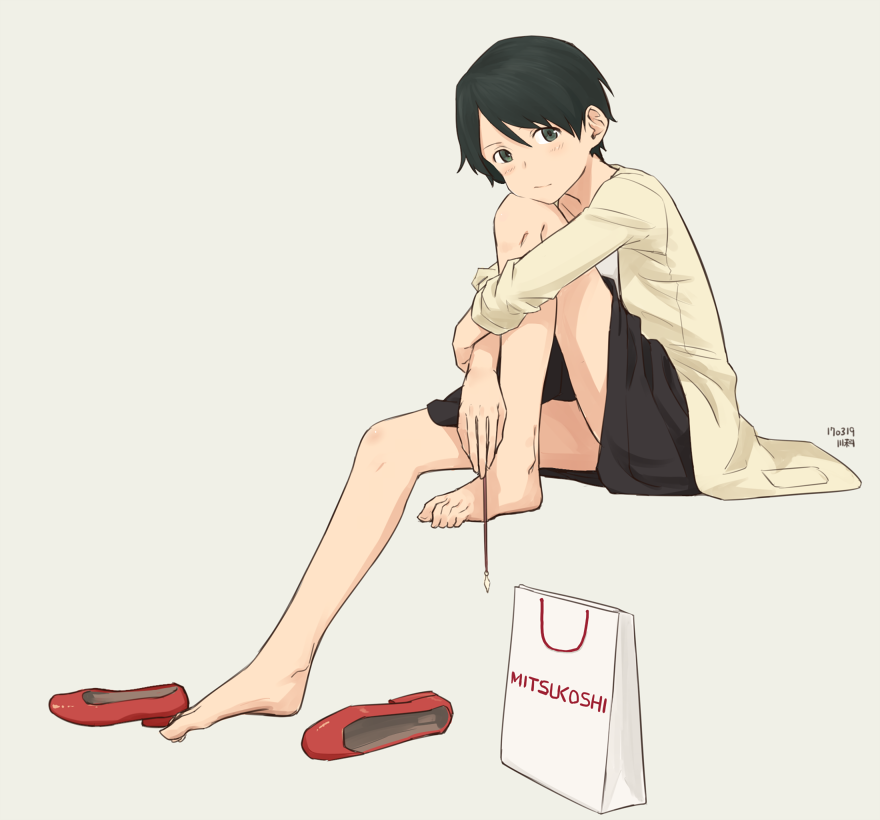 1girl :/ artist_name bag bangs barefoot black_eyes black_hair black_skirt blush casual closed_mouth collarbone dated feet from_side full_body grey_background hair_between_eyes high_heels holding holding_necklace jewelry kantai_collection kawashina_(momen_silicon) leg_hug looking_at_viewer mitsukoshi_(department_store) mogami_(kantai_collection) necklace number red_shoes shoes shoes_removed shopping_bag short_hair simple_background sitting skirt solo swept_bangs toes