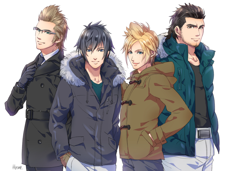 4boys black_hair blonde_hair brown_hair coat final_fantasy final_fantasy_xv fur_trim gladiolus_amicitia gloves hands_in_pockets hinoe_(dd_works) hood ignis_scientia male_focus multiple_boys noctis_lucis_caelum prompto_argentum signature winter_clothes