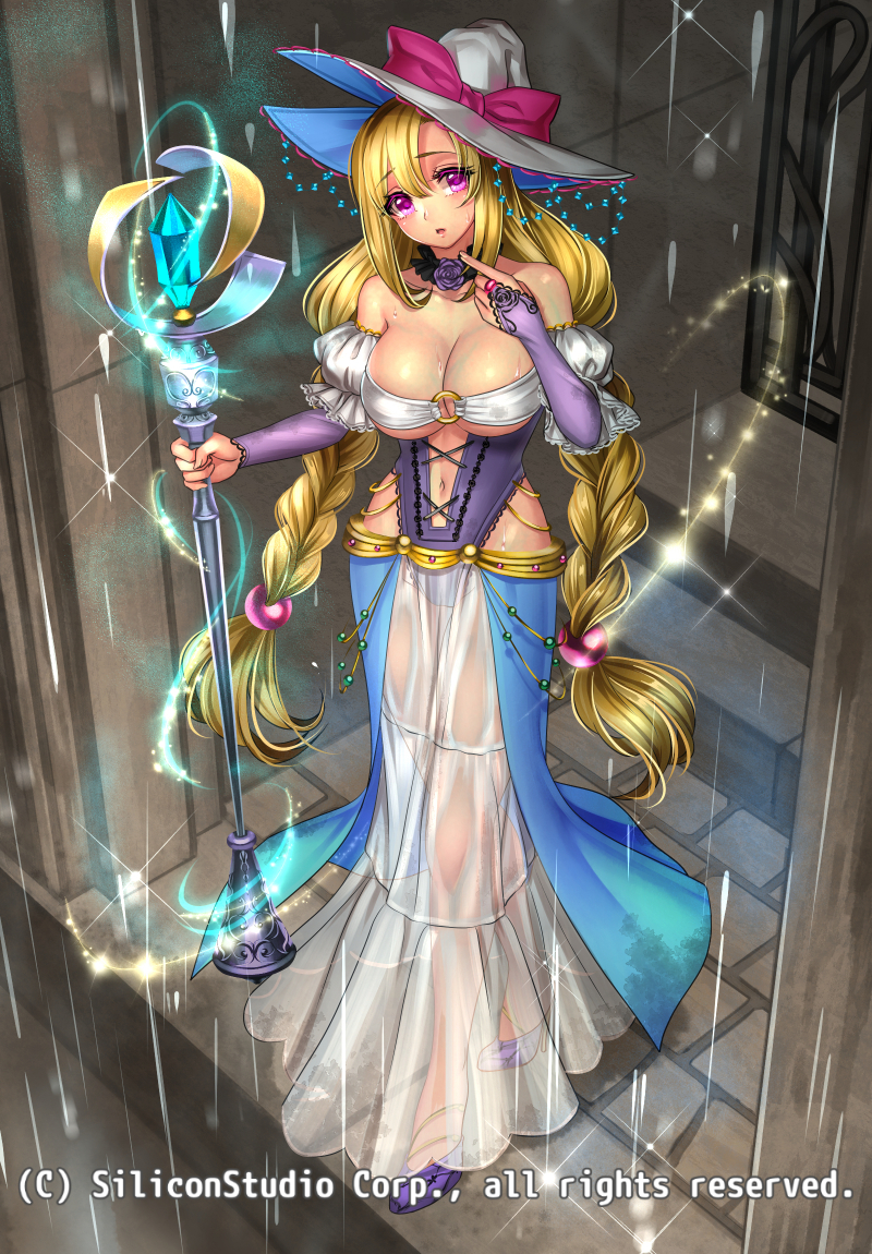1girl bare_shoulders blonde_hair bow braid breasts cleavage company_name full_body gyakushuu_no_fantasica hat high_heels jewelry navel official_art open_mouth pink_eyes rain ryuki@maguro-ex solo sparkle staff twin_braids veins witch_hat