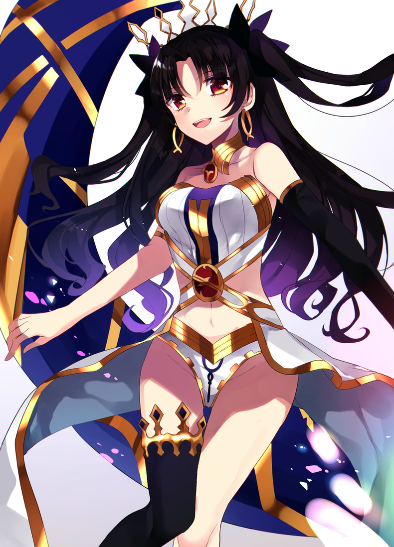 1girl armlet bare_shoulders black_hair breasts crown earrings fate/grand_order fate_(series) hair_ribbon hoop_earrings ishtar_(fate/grand_order) jewelry long_hair looking_at_viewer mipe_(r_kkk12) navel open_mouth orange_eyes ribbon simple_background single_thighhigh smile solo thigh-highs tohsaka_rin white_background