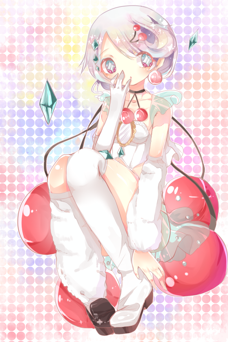 +_+ 1girl artist_request asymmetrical_legwear cherry covering_mouth crystal food fruit gloves mahou_shoujo_ikusei_keikaku mahou_shoujo_ikusei_keikaku_jokers mirror prism_cherry see-through short_hair silver_hair sitting solo symbol-shaped_pupils