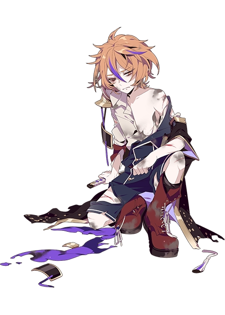 1boy boots brown_eyes brown_hair cross-laced_footwear gotou_toushirou injury kiwame_(touken_ranbu) lace-up_boots male_focus multicolored_hair off_shoulder official_art shikimi_(yurakuru) shirt shorts squatting streaked_hair torn_clothes torn_shirt torn_shorts touken_ranbu