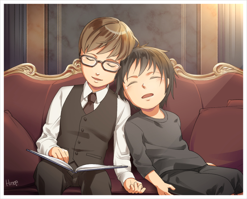 2boys black_hair book brown_hair child couch drooling final_fantasy final_fantasy_xv glasses head_on_shoulder hinoe_(dd_works) ignis_scientia male_focus multiple_boys noctis_lucis_caelum short_hair signature sitting sleeping vest waistcoat younger
