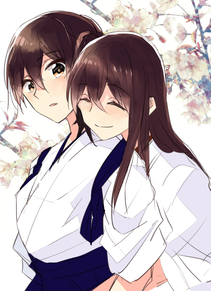 2girls akagi_(kantai_collection) brown_eyes brown_hair cherry_blossoms closed_eyes commentary_request flower hair_between_eyes hakama head_on_another's_shoulder hug hug_from_behind japanese_clothes kaga_(kantai_collection) kantai_collection looking_at_another multiple_girls outdoors side_ponytail smile straight_hair takamachiya yuri