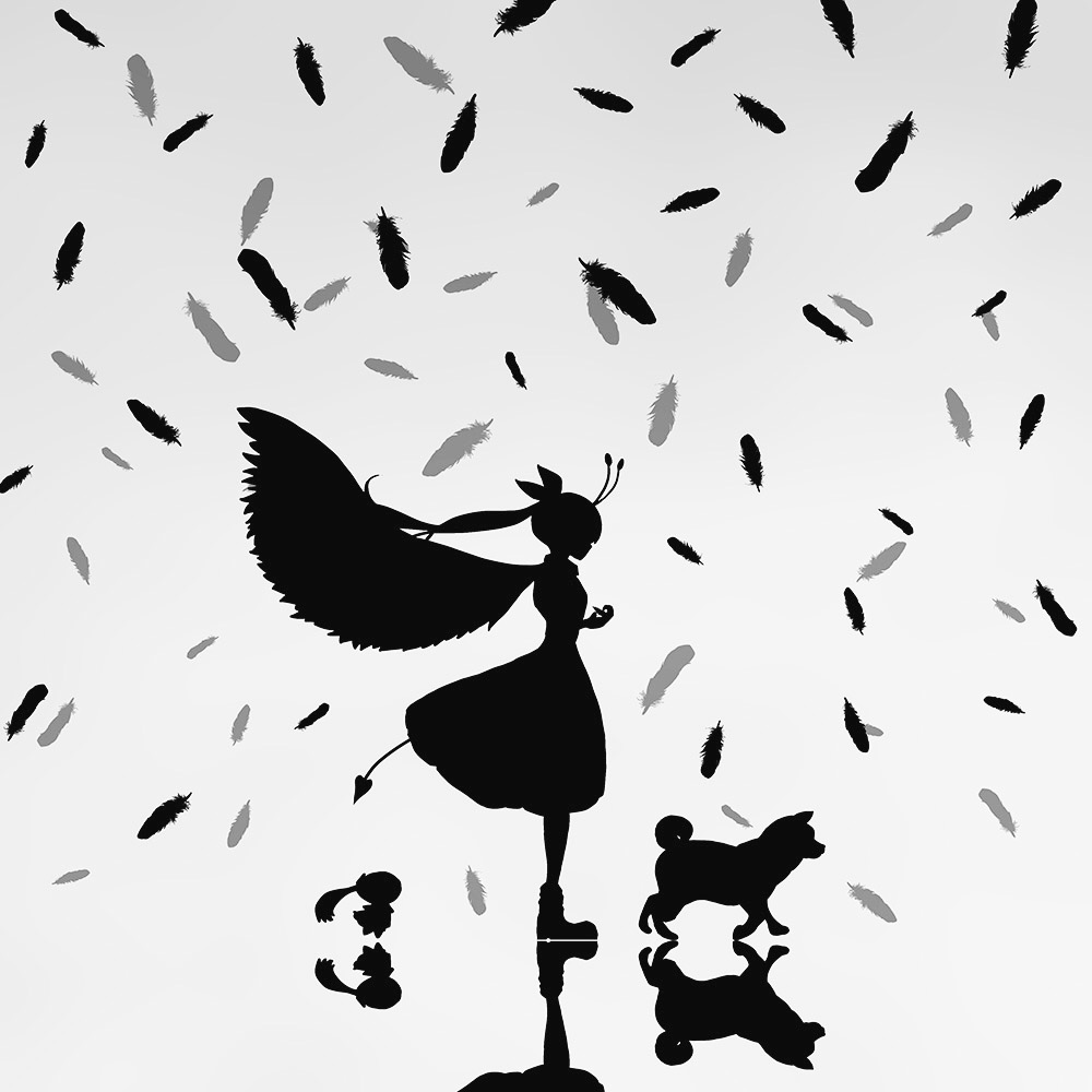 1girl aimaina demon_tail dog dress feathered_wings feathers grey_background harada_miyuki hatsune_miku reflection shadow silhouette tail vocaloid wings