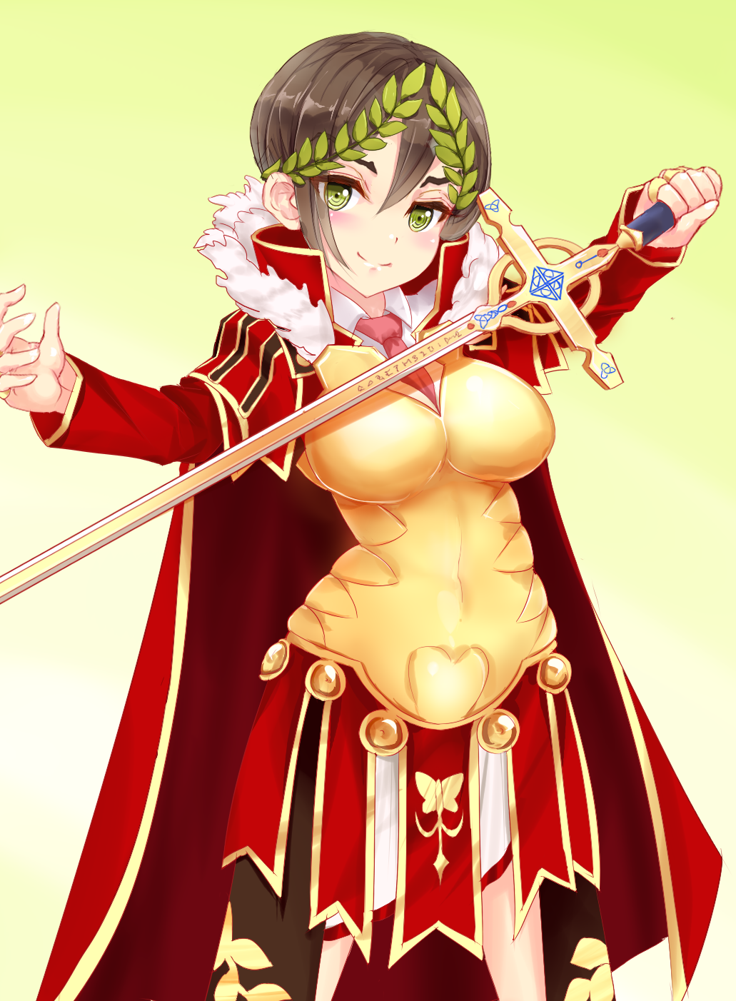 1girl armor black_hair blush breasts cape closed_mouth cowboy_shot fate/grand_order fate_(series) female fur_trim genderswap genderswap_(mtf) green_eyes highres holding holding_sword holding_weapon julius_caesar_(fate/grand_order) large_breasts laurel_crown long_sleeves looking_at_viewer minazuki_(jo) necktie red_necktie short_hair skirt smile solo sword weapon
