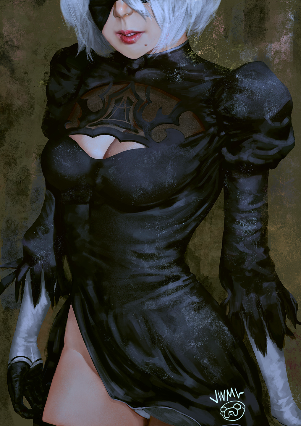1girl artist_logo black_blindfold black_dress black_legwear blindfold breasts cleavage cleavage_cutout dress gloves groin highres large_breasts lips long_sleeves mole mole_under_mouth nier_(series) nier_automata no_leotard nose parted_lips red_;lips red_lips short_hair solo standing steamy_tomato teeth thigh-highs white_hair yorha_no._2_type_b