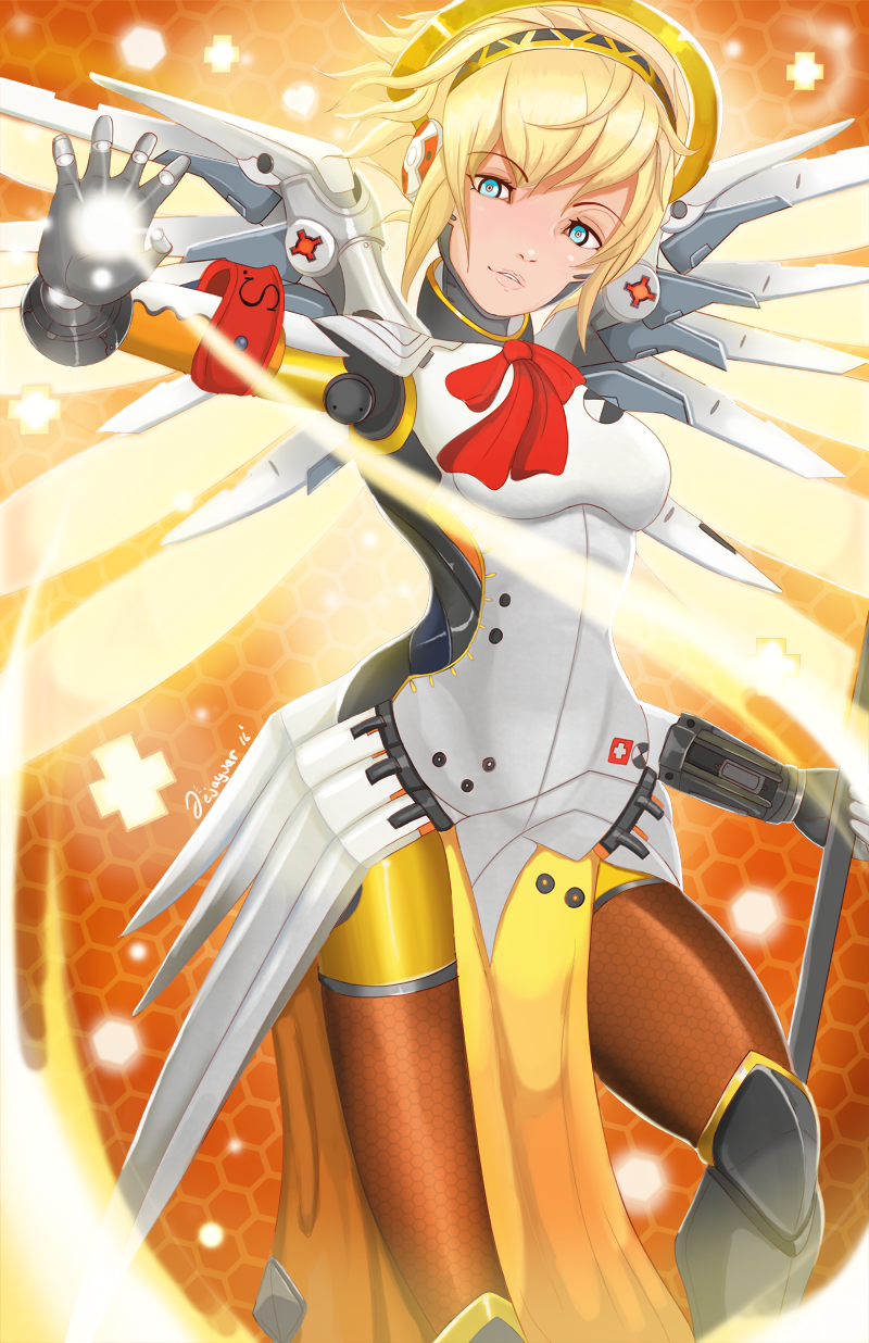 1girl aegis aegis_(persona) angel angel_wings armband blonde_hair bodysuit breasts cosplay gloves highres looking_at_viewer mechanical_halo mechanical_parts mechanical_wings medium_breasts mercy_(overwatch) mercy_(overwatch)_(cosplay) overwatch parted_lips pelvic_curtain persona persona_3 short_hair solo staff thighs wings