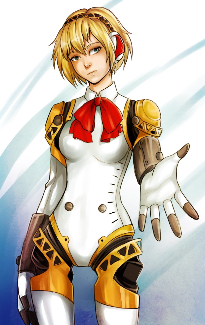 1girl aegis aegis_(persona) arm_at_side blonde_hair blue_eyes bodysuit from_side head_tilt highres mechanical_parts neck_ribbon outstretched_hand persona persona_3 ribbon robot_joints short_hair solo