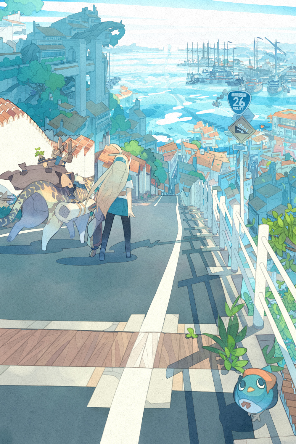 1girl ahoge akitsu_taira animal arms_at_sides bag barrel belt bird black_legwear blonde_hair blue_skirt blue_sky bow bowtie building bush cityscape clouds cloudy_sky commentary_request day facing_away fantasy fence flood green_skirt hairband highres horizon house izumi_luna_(akitsu_taira) leopard long_hair looking_up ocean original outdoors overgrown pantyhose plant red_bow red_bowtie road road_sign scenery see-through shadow ship shirt short_sleeves sign skirt sky smoke topknot tree vanishing_point very_long_hair walking wall water watercraft white_shirt window
