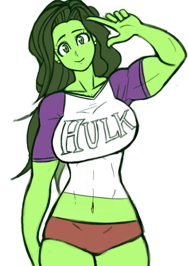 breasts franschesco green_eyes green_hair large_breasts long_hair marvel muscle muscular_female panties she-hulk shirt tight_shirt underwear