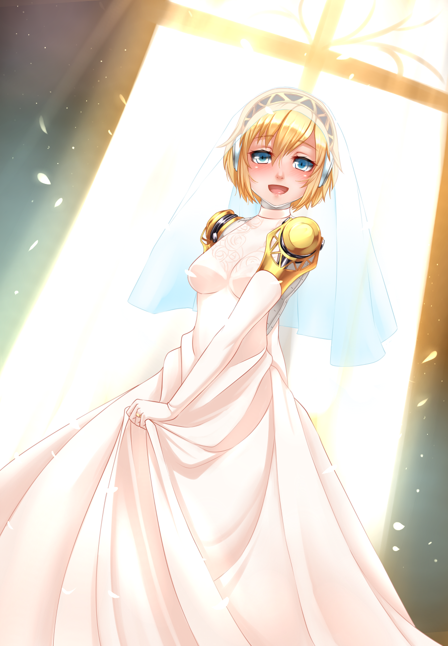 aegis aegis_(persona) android blonde_hair blue_eyes blush bridal_veil dress earphones elbow_gloves gloves highres looking_at_viewer open_mouth persona persona_3 petals robot_joints short_hair smile twrlare veil wedding_dress