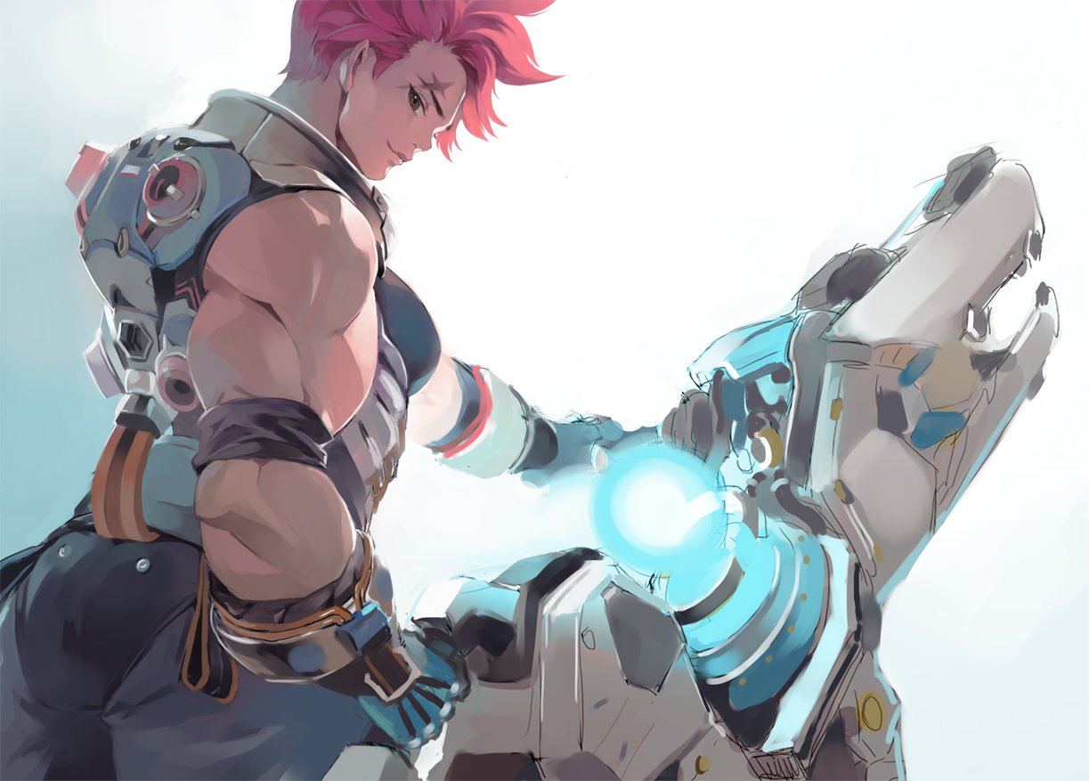 1girl arm_tattoo armband armor ass biceps boots chkuyomi closed_mouth energy_gun from_behind gauntlets gloves gravity_gun green_eyes gun holding holding_gun holding_weapon huge_weapon looking_at_viewer looking_back muscle muscular_female nose overwatch pants pink_hair pixel_art scar scar_across_eye short_hair simple_background sleeveless smile solo standing tattoo weapon white_background zarya_(overwatch)