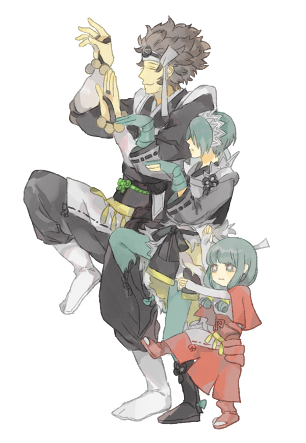 1boy 2girls alternate_hair_color asama_(fire_emblem_if) bangs blue_eyes blue_hair blunt_bangs brown_hair closed_eyes father_and_daughter fingerless_gloves fire_emblem fire_emblem_if gloves hair_ornament hair_over_eyes hair_over_one_eye hand_holding image_sample long_hair low_twintails mitama_(fire_emblem_if) mother_and_daughter multiple_girls parent_and_child parted_lips pixiv_sample setsuna_(fire_emblem_if) shourou_kanna star star-shaped_pupils symbol-shaped_pupils twintails white_background yotsubato! yotsubato!_pose