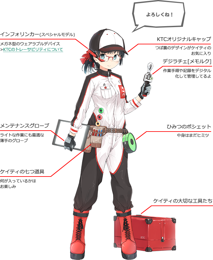 1girl baseball_cap belt black_hair blue_eyes boots full_body glasses gloves hat jumpsuit katie-chan kyoto_tool long_hair mascot mechanic ponytail smile solo toolbox tools transparent_background