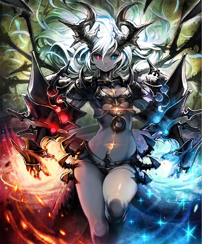 1girl armor artist_request black_sclera breastplate demon_girl demon_horns fire flame_and_glass gauntlets grey_skin heterochromia horns ice long_hair long_tail official_art pointy_ears revealing_clothes scar serious shadowverse shoulder_armor shoulder_spikes spikes sword tail veins weapon white_hair