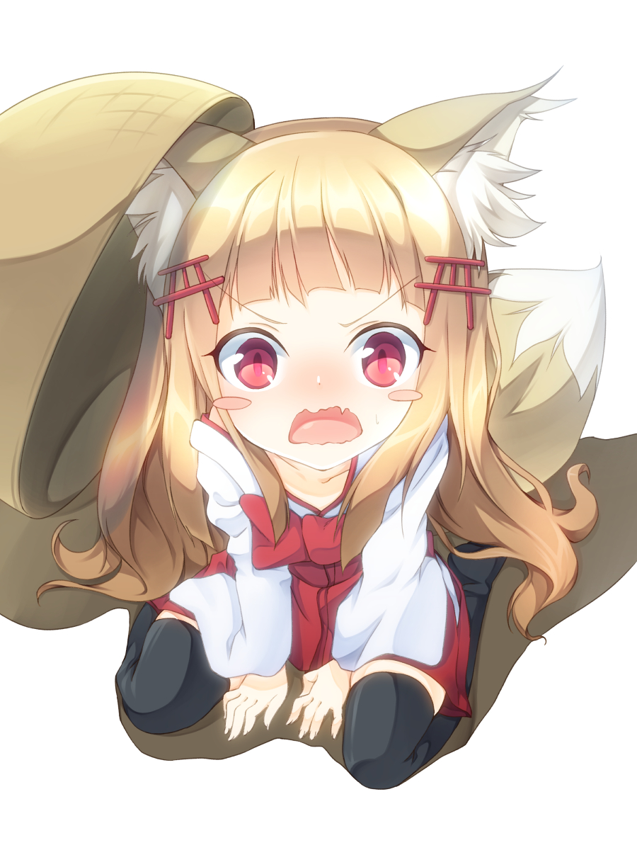 1girl angry animal_ears bangs blonde_hair blunt_bangs blush_stickers commentary_request d:< da-mii drop_trap fox_ears fox_tail highres long_hair looking_at_viewer open_mouth oshiro_project pink_eyes senko_(oshiro_project) simple_background sitting solo tail torii_hair_ornament wariza wavy_mouth white_background