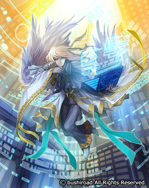 1boy angel blonde_hair blue_eyes cardfight!!_vanguard coat company_name computer feathers full_body gloves long_hair male_focus moreshan official_art scheduler_angel solo