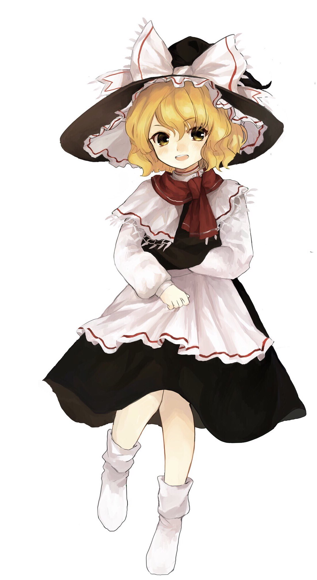 1girl :d apron black_hat black_skirt blonde_hair bobby_socks bow capelet commentary_request full_body hat hat_bow highres kirisame_marisa long_sleeves no_shoes open_mouth perfect_cherry_blossom red_scarf scarf short_hair shoudoku_taishi_(taishi) simple_background skirt smile socks solo touhou waist_apron white_apron white_background white_bow white_legwear witch_hat yellow_eyes